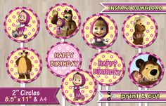 Masha and the bear Cupcake Toppers / Masha and the by SalensSVR