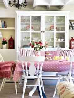 Shabby chic dining room in an English cottage