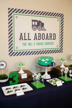 Navy & Green Train themed birthday party
