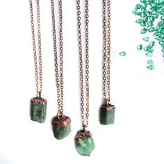Emerald crystal necklace   Raw emerald necklace   May birthstone necklace…