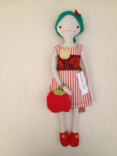 RagdOlly rag doll by the Professional Bohemians. Cotton velveteen vegan version!