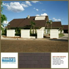 Shingle Tegola Premium rectangular with bituminous shingles for the rectangular shape. 100% from Italy.  How complexity your roof design, tegola shingle roofing always give you 3 benefit -enhance beauty -zero leaking with warranty -increase property value  Tegola the only fashionable roof for life.  www.1atap.com.my/tegola