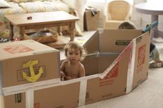 diy cardboard boats for kids | Our Cardboard Pirate Ship {The SS Home Depot} …