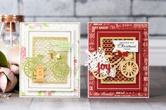 Episode - Christmas Bicycle Card by Yana Smakula for Spellbinders Create Christmas Cards, Religious Christmas Cards, Christmas Messages, Christmas Wishes, Christmas Holidays, Bicycle Cards, Spellbinders Cards, New Year Card, Cool Cards