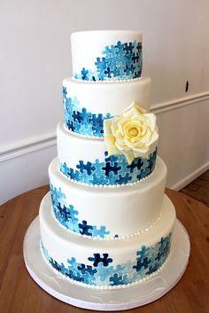 Blue Puzzle Piece Wedding Cake