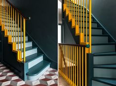 The Kids Helped Design This Super Cheerful London House Extension – Interiors Yellow Hallway, Yellow Stairs, Tiled Hallway, Wood Railing, Wood Stairs, Railings, Interior Stairs, Home Interior Design, London Apartment