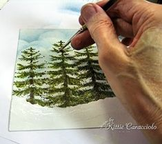 A great tutorial from Kittie, painting trees and snow and a snowman and bare tree with stamps Tole Painting, Watercolour Painting, Painting & Drawing, Painting Trees On Canvas, Painting Snow, Canvas Paintings, Christmas Paintings, Christmas Art, Painting Lessons