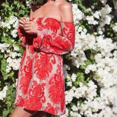 NWOT Red Lace Mini Dress It's NWOT size small. I'm 5'7 and the dress is modeled to perfection. Boutique Dresses Mini