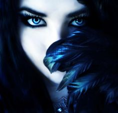 Black Hair Ice Blue Eyes | - beautiful dark witch with long black hair and dark purple eyes ...