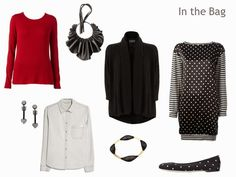 A travel capsule wardrobe in black, red, and blue