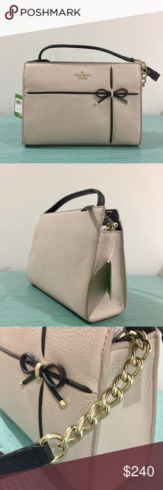NWT: Kate Spade Beige & Black Danna Bag Kate Spade crisplinen cherry street danna crossbody bag with bow and gold chain accent, Small Phoebe. Dimensions: 7.5H x 10.5L x 4W. 10 inch from bag to handle. 20 inches from shoulder strap to top of the bag. Zip top. One zip pocket inside. 2 cell phone sided pockets. Hard to find! kate spade Bags Crossbody Bags