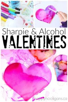 """Sharpie and Rubbing Alcohol Valentines Art Activity - an easy but fascinating science-art experiment that """"wows"""" kids of all ages every time! Happy Hooligans"""