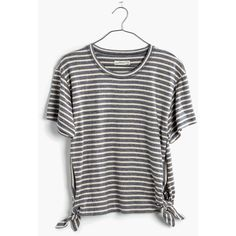 MADEWELL Side-Tie Crop Tee ($45) ❤ liked on Polyvore featuring tops, t-shirts, dark baltic, stripe tee, crop tee, striped crew neck t shirt, side tie tee and cotton t shirts