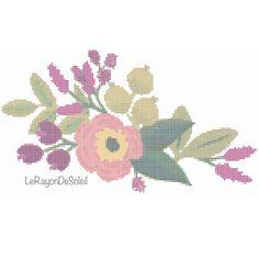 Wild poppy purple flowers cross stitch pattern - frame decor - tablecloth napkins tea towel motif.