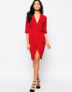 Image 4 of Vesper Side Tie Midi Dress With Collar Asos f8ca6d7bbd