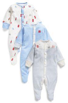London Pyjama-Sets, hellblau, Dreierpack (0 Monate – 2 Jahre)