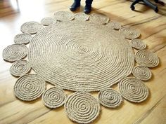 Crochet Rug  152 cm  Playful Round Rug by natural jute Original by GreatHome