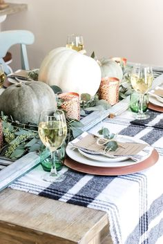 Green and Copper Thanksgiving Tablescape + Printable | blesserhouse.com - How to style a Thanksgiving tablescape using dollar store finds and repurposing typical items around the house for inexpensive holiday decor.