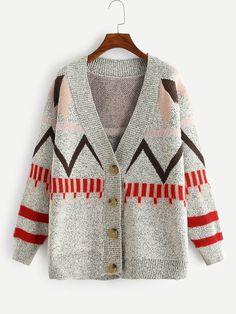 Plus Geo Pattern Knit Coat -SheIn(Sheinside)