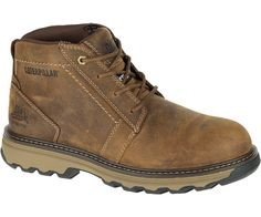 The Cat Footwear Men's Parker ESD Steel Toe Work Boots feature full-grain  leather uppers and electrostatic dissipative construction.