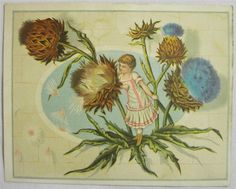 Late 1800 Early 1900 Lion Coffee Trade Card Child Little Girl in Thistles Dress
