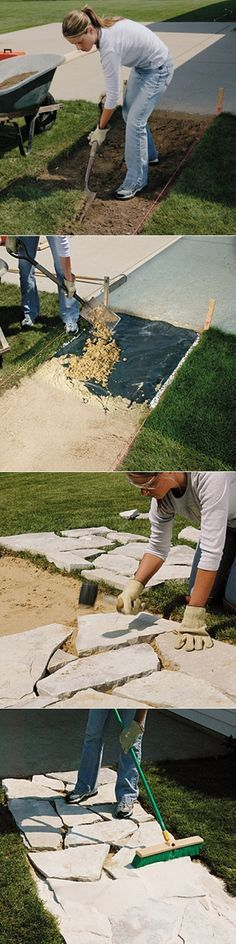 How to install stone walkway: Lay out the path. Fill the bed with gravel and sand. Make a trial layout. Cut and place the stones. Check for flatnes. Sweep mason's sand into the joints. Materials: •Landscape fabric •Stones •Bedding sand •Mason's sand •Gravel http://gardenclub.homedepot.com/make-a-dry-laid-stone-walk/