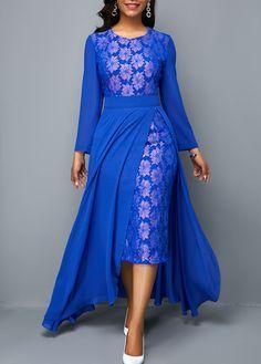 Patterned Lace Panel Royal Blue Chiffon Overlay Dress | modlily.com - USD $31.44