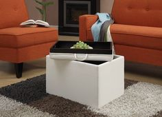 Storage Ottoman Coffee Table Seat Home Bench Furniture Table Ivory. This Storage Ottoman is sure to complement any room while giving extra stockpiling. The removable cover gives simple access to storage room, and serves as a plate. Whether you're utilizing it for Storage, a tabletop or a lap plate, you'll make certain to appreciate it for a considerable length of time to come. Is made of sturdy wood construction with durable Faux Leather in Ivory color. Reversible serving trays makes this…