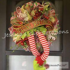 Made to Order Season's Greetings Wreath/Elf Mesh Wreath/Holiday Wreath/Seasonal Wreath/Christmas Door Hanger/Front Door Wreath/Santa Wreath by JessicasGCreations on Etsy