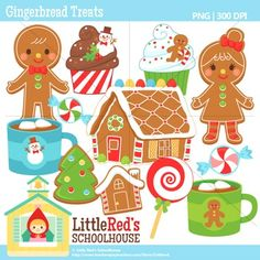 Clip Art: Gingerbread Treats - Christmas-themed clipart $