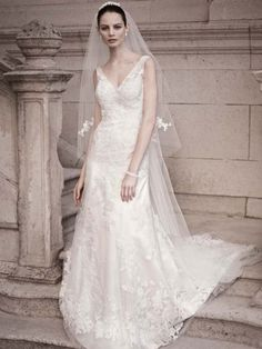 Oleg Cassini Oleg Cassini A-line Gown with Illusion Straps and Beaded Lace Size 4 Size 3 Wedding Dress – OnceWed.com