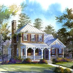 Topwater Lodge Plan #1385 | An easy going, laidback warmth characterizes this cozy cottage.