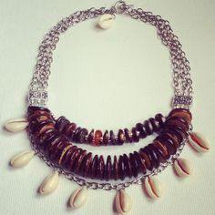 Cowrie shell necklace bib with wooden beads, handmade jewelry by MomMa