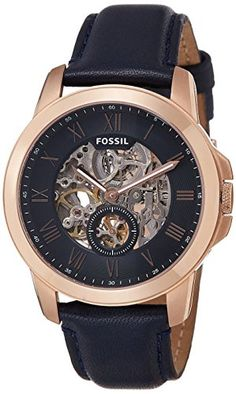 Now in stock Fossil Men's ME3054 Grant Three-Hand Automatic Leather Watch - Navy Blue