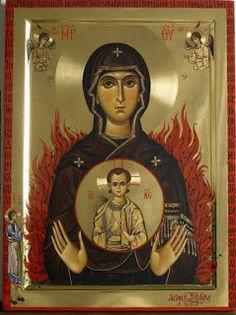Icon of the Theotokos of the Burning Bush - Mount Athos - Byzantine Icons, Byzantine Art, Religious Symbols, Religious Art, Faith Of Our Fathers, Paint Icon, Burning Bush, Russian Icons, Best Icons