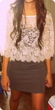 Simple gray skirt with a white lace top.