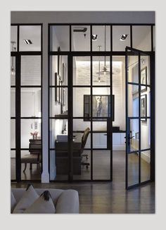 home office in Soho Loft // by Heiberg Cummings Steel doors add instant caracter Soho Loft, Style At Home, Architecture Details, Interior Architecture, Casa Loft, Home Fashion, Office Interiors, Interior Office, Interior Ideas