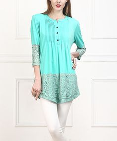 Look what I found on #zulily! Turquoise Lace-Trim Notch Neck Tunic by Reborn Collection #zulilyfinds