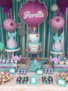 Festa fundo do mar Under the sea party Mermaid Birthday Cakes, Little Mermaid Birthday, Little Mermaid Parties, Baby Birthday, First Birthday Parties, First Birthdays, Mermaid Party Decorations, Birthday Party Decorations, Mermaid Party Invitations