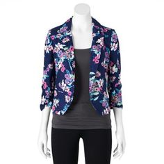 Candie's® Notch Collar Floral Blazer - Juniors