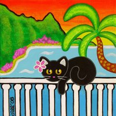 Tropical Black CAT on Hanalei Bay with BALI Hai Art PRINT from Original Painting by Jill. $8.00, via Etsy.