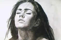 Megan Fox charcoal speed Drawing - Video Lessons of Drawing & Painting