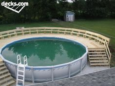 This is an idea that I wanted around the pool.. except square, possibly to the edge of the fence.. I can't decide! I can't see behind the pool, so putting a deck up would make me feel better about pets/kids Pool Landscaping, Above Ground Pool Decks, In Ground Pools, Pool Ideas, Backyard Ideas, Outdoor Pool, Backyard Pools, Outdoor Decor, Outdoor Ideas