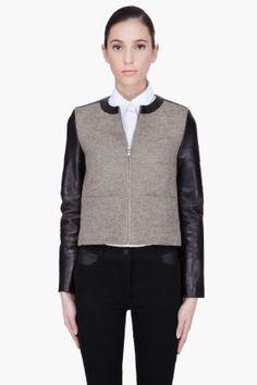 NEIL BARRETT Brown combo Leather biker Jacket