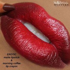 Motives Ultra Matte Lipstick in Erotic & Motives Lip Crayon in Morning Coffee