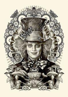 """Estampa do Chapeleiro Maluco (Johnny Depp), personagem confuso e bem maluquete do filme adaptado por Tim Burton, do original """"Alice no País das Maravilhas"""" de Lewis Carrol."""