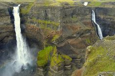 The amazing Háifoss Waterfall and the beautiful Waterfalls in Fossá River in Iceland