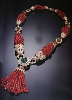 Van Cleef & Arpels Jewelry | diamond and emerald necklace with ruby beads and tassel