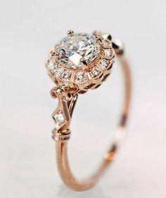 rose gold engagement ring vintage style wedding ring