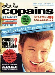 """1er juillet 1962. Premier numéro de """"Salut les copains"""" Johnny à la une."""
